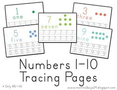 Number's 1-10 Tracing Papers.  11-20 available too.  also printouts for number mats to make a fun physical game of counting.