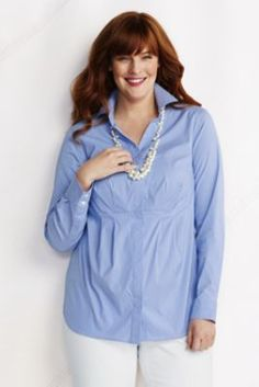 Women's Plus Size Roll Sleeve Pattern Hidden Placket Stretch Splitneck Tunic from Lands' End