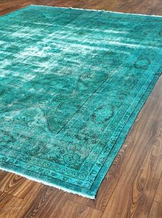 Inches Wool Carpets Patchwork Rug Turquoise Color Rugs VINTAGE Turkish Rug Woven Rugs Overdyed Rugs / 426 Love this color!