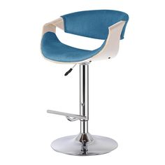 Dryden Gaslift Barstool in Blue and Natural - NPD