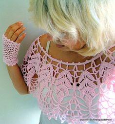 Items similar to Lace Bolero, Crochet Cape Cover Up Vintage Style Pink Capelet with Mittens, Wedding Bolero, Bridal Bolero, Women& Accessories on Etsy Crochet Bolero, Cardigan Au Crochet, Lace Bolero, Crochet Collar, Crochet Mittens, Lace Collar, Crochet Cardigan, Crochet Scarves, Crochet Clothes