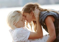 Dallas (played by Erika Linder), left, and Jasmine (played by Natalie Krill) in a scene from April Mullen's Below Her Mouth. Natalie Krill, Erika Linder, Below Her Mouth, Love Scenes, Movie Couples, Netflix Streaming, Netflix Movies, Movies Online, Lesbian Love