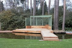 Wooden deck with water beneath