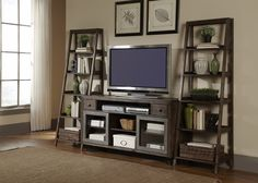 Leaning Bookshelf Entertainment Center | Avignon Entertainment Center with Piers by Liberty