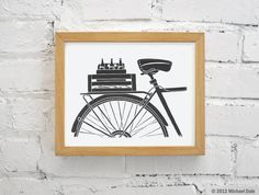Bike Art and Beer Linocut Relief Print - Printmaking Bicycle Commuter Messenger Microbrew Beer.  8x10