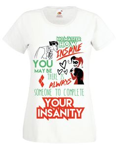 JOKER harley quinn t shirt insanity by kyokishop on Etsy