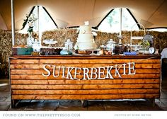 Dessert buffet- I like the table and the banner in general, but I also really like the use of Afrikaans, which will most likely be present in my big day. Safari Wedding, Wedding Messages, South African Weddings, Love Birds Wedding, Dessert Buffet, Party Desserts, Wedding Catering, Wedding Designs, Wedding Ideas