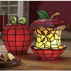 Stained Glass Apple Lamps
