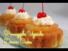 Pineapple Upside Down cake recipe made into individual cakes with a recipe specific for keeping moist and soaking up that sugar butter glaze Mini Cakes, Cupcake Cakes, Bundt Cakes, Pineapple Recipes, Dole Pineapple, Pineapple Cake, Easy Desserts, Delicious Desserts, Cupcake Recipes