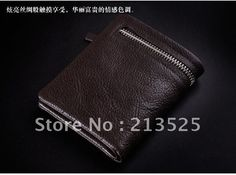 WHOLESALE Free shipping brand name soft cow leather Men's wallet zip wallet   elegant design top charming