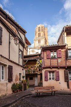 Rue Savene and Albi cathedral, France. Beaux Villages, Aquitaine, Alsace, Provence, Cathedral, Mansions, House Styles, World, Beautiful