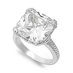 Womans Solitaire Clear CZ Ring Polished Band New Rhodium Finish 15mm Sizes 6-10 #TheVaultSilverJewelry #Ring