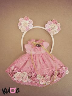Shocking Pink flowers dress and Minnie flowers headband by kuloft