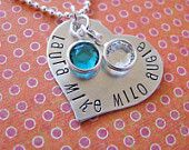 hand stamped double initial with date necklace. $38.00, via Etsy.