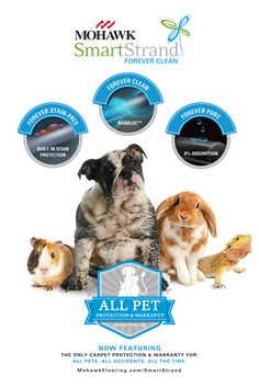 Mohawk Flooring's all new SmartStrand Forever Clean carpet with All Pet Protection and Warranty