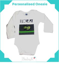 Cute Personalised Onesie from BabyK. Cute Little Baby, Little Babies, Boy Outfits, Custom Made, Onesies, Boys, Clothes, Fashion, Boyish Outfits