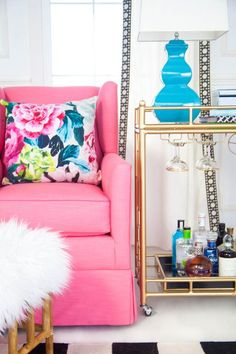 Society Social Official Photography July 2015 // Braeton Accent Chair // The Holloway Bar Cart Interior Photo, Home Interior Design, Colorful Interiors, Color Pop, Love Seat, Accent Chairs, Blue And White, Pillows, Bar Cart
