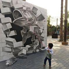 """ in Dubai, United Arab Emirates for Street Wall Art, Street Art Graffiti, Sidewalk Chalk Art, Arte Popular, Best Artist, Cool Photos, Interesting Photos, Canvas, Urban Art"
