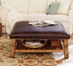 Caden Leather Square Ottoman | Pottery Barn. $989; Or this ottoman/table if you get fabric chairs? Too rustic?