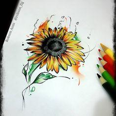 """""""---ARTE DISPONÍVEL PRA TATUAR-- O girassol simboliza felicidade e a coloração amarela ou laranja das suas pétalas representa o calor, a lealdade, o…"""""""