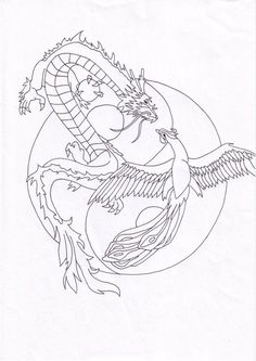 Tattoo Dragon And Phoenix, Tribal Dragon Tattoos, Chinese Dragon Tattoos, Tribal Sleeve Tattoos, Geometric Tattoo Arm, Dragon Tattoo Designs, Celtic Tattoos, Dreamcatcher Tattoos, Phoenix Tattoos