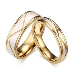 1 Pair Stainless Steel Couples Rings for Men Women Gold Wedding Bands Engagement Anniversary Lovers His and Hers Promise Rings