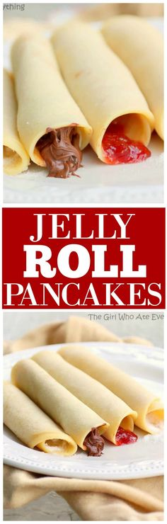These Jelly Roll Pancakes are what we make for breakfast whenever we get together with family. These Jelly Roll Pancakes are a recipe that\'s a mix between a crepe and a German pancake. the-girl-who-ate-everything.com