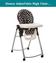 Disney AdjusTable High Chair in Mickey Silhouette. Find the perfect height for your home and your child with 6 different heights that adjust easily from the front. Easy feeding through different stages with a 1-hand, 3-position recline. One-hand front-release tray with 4 positions. Dishwasher-safe insert tray. Permanent restraint with snack tray. Comfortable, easy-wipe seat pad. 4 lockable wheels for portability when you need it and stability when you don't. Compact fold for easy storage....