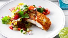 Pan-fried snapper with jewelled tomato chilli salsa :: Australian Women's Weekly Mobile