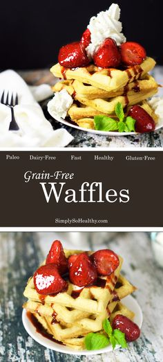 Grain-Free, Paleo, and dairy-free waffle recipe made with almond flour. These are so delicious and taste just like normal waffles! They make a fast and easy breakfast. Grain Free Waffle Recipe, Dairy Free Waffles, Waffle Recipes, Brunch Recipes, Breakfast Recipes, Breakfast Ideas, Best Gluten Free Recipes, Paleo Recipes, Low Carb Recipes