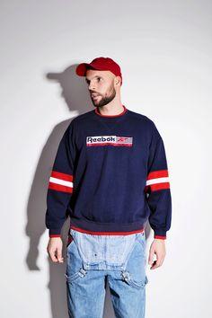 dff0a86fb13 Vintage Reebok sweatshirt blue red men. 1990s cozy athletic jumper pullover  crewneck sport sweater