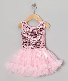 Look at this #zulilyfind! Pink Sequin Pettiskirt Dress - Infant, Toddler & Girls #zulilyfinds
