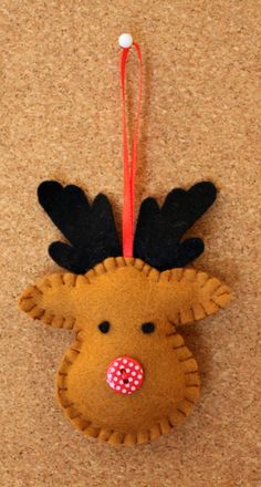 reindeer felted, cute button nose