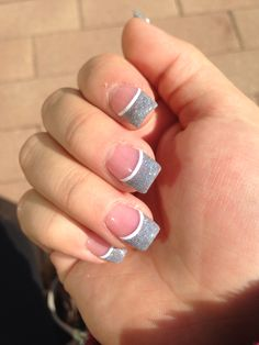 Holographic silver glitter with white line. Acrylic