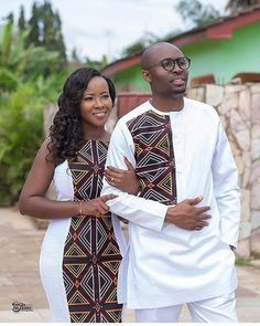 Look into the future together Congratulations Mr & Mrs Ngwang ❤️❤️❤️ May your new home be blessed Mua: Dress:… African Wear Styles For Men, African Shirts For Men, African Attire For Men, African Clothing For Men, Couples African Outfits, Best African Dresses, Latest African Fashion Dresses, African Men Fashion, Africa Fashion