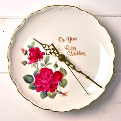 Wedding Anniversary Ruby Rose Wall Clock by LaviniasTeaParty