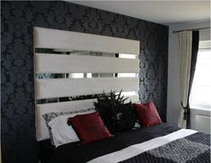 Upholstered headboard with mirrors