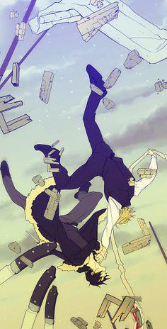 Tags: Fighting, Durarara!!, Falling, Sign, Orihara Izaya, Heiwajima Shizuo