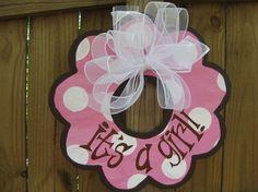 pink baby girl door hanger by lamandle on Etsy, $35.00