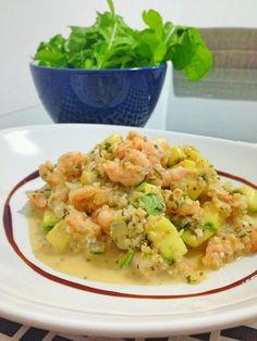 Risoto de quinoa, camarão e abobrinha