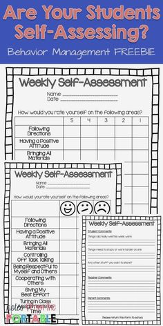 The Way to Improve Student Behavior! - Let Them Self-Assess Put weekly assessing in the hands of the students with this FREE Weekly Self-Assessment. Great for helping with student behavior. Totally helped with parent communication! Student Self Assessment, Formative Assessment, Student Self Evaluation, Student Data Folders, Neurological Assessment, Disc Assessment, Student Feedback, Student Data Tracking, Kindergarten Assessment