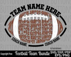 Football svg football team svg team names svg back of shirt svg team members svg cut file football shirt cricut silhouette iron on Football Coach Gifts, Football Mom Shirts, Football Crafts, Football Cheer, Football Season, Sports Shirts, Alabama Football, Senior Football Gifts, Football Stuff