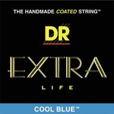 "DR Cool Blue Coated - Heavy - Electric Guitar Strings by DR Strings. $14.62. DRs EXTRA-Life strings offer players a superior blue coated string without sacrificing the crisp tone, clarity, and volume of traditional DR HandMade Strings. EXTRA-Life is a super thin advanced .0003"" coating on the plain strings and on the wrap wire. Advanced coating for EXTRA-Life and Protection.. Save 33% Off!"