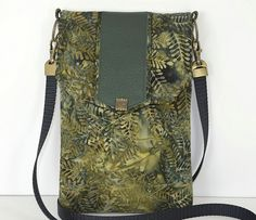 Batik Green Cotton with Leather Accents Tech by ljwengerdesigns, $40.00