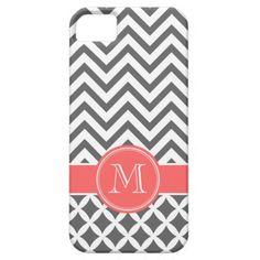 Charcoal Gray & Coral Chevron Custom Monogram iPhone 5 Cases