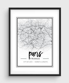 Paris Print. Paris Map. Fashion Illustration. by CouturePrintery