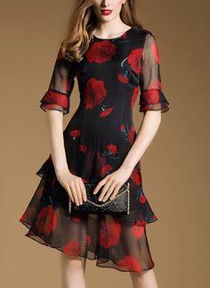 Chiffon Floral Half Sleeve High Low Vintage Dresses (1955103816)