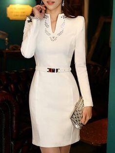 Plus Size Elegant Long Sleeve Beaded Midi Dress