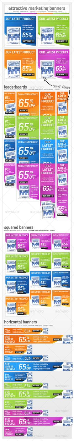 Online Marketing Pack  Web Banner Ads — Photoshop PSD #online marketing #advertisement • Available here → https://graphicriver.net/item/online-marketing-pack-web-banner-ads/310132?ref=pxcr