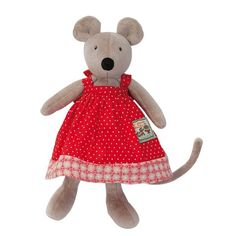 """""""La Grande Famille"""" Collection Plush Stuffed Animal - TINY Nini the Mouse, Designed in France. Beautiful Nini, a mischievous mouse who's curious nature takes her., By Moulin Roty Ship from US Baby Animals, Cute Animals, Sock Animals, Flowy Summer Dresses, Long Car Rides, French Fabric, Baby Comforter, Le Moulin, Costumes"""